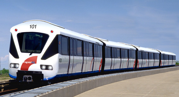 A 4-car Bombardier Innovia ART 200 car from Kuala Lumpur. Such a config will soon exist in Vancouver, and it may use even newer ART 300 trains.