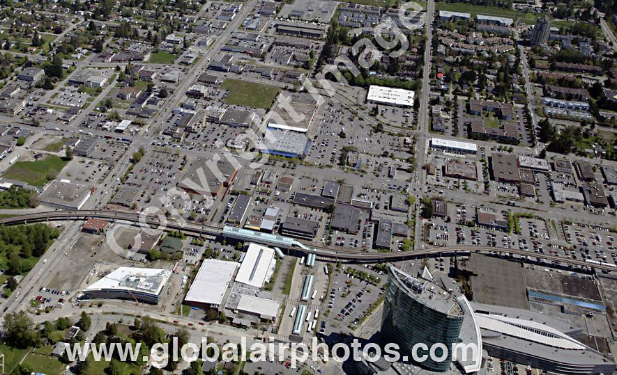 A Closer shot of the Surrey Central area.  Notice that the majority of the area is undeveloped or premature (there are actually several empty lots located just to the north or left of this picture) and like New Wesminster Station, a large bus loop that is a hub for the majority of South of Fraser transit routes.