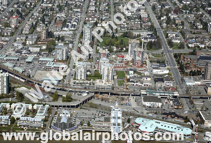 New Wesminster SkyTrain station just as construction was about to begin - from Waite Air Photos.