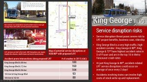 King George Blvd: Service Disruption Risks. Service disruption threat poses severe risk to LRT project benefits, business case, ridership