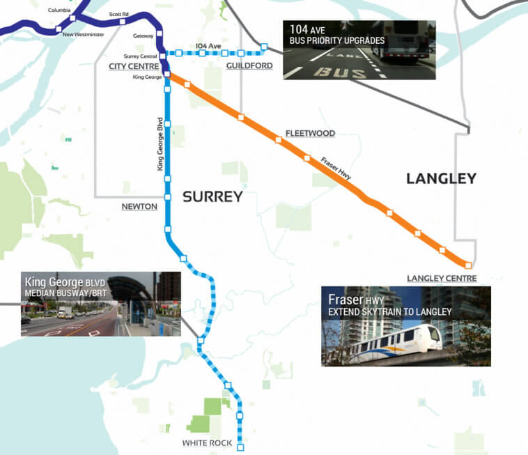 Our vision: bus priority upgrades on 104 Ave, a median busway/BRT on King George Blvd, and a SkyTrain extension to Langley.