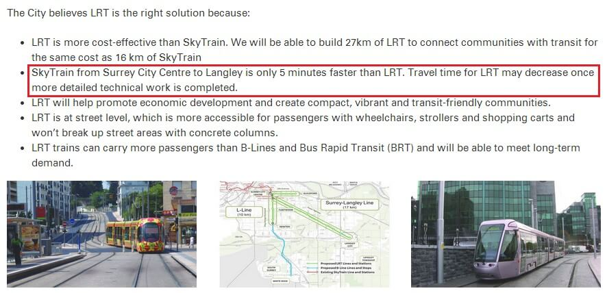 See here for the City's misleading claim on LRT vs SkyTrain