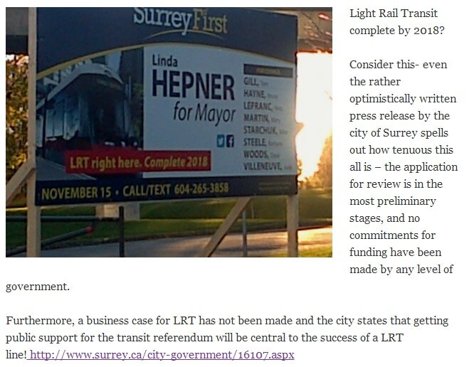 """Above: Excerpt from Laila Yuile's """"No Strings Attached"""" outlining issues with Surrey First's """"LRT complete 2018"""" claim. Full read: lailayuile.com/2014/11/13/countdown-to-surrey-votes-2014"""