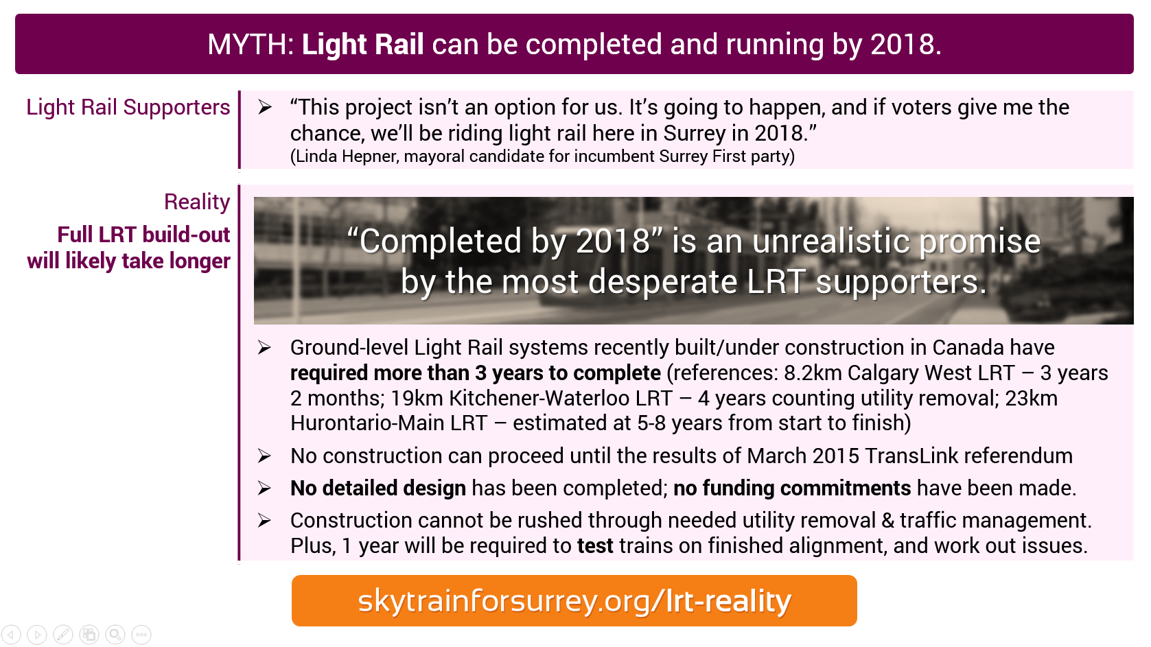 MYTH: Light Rail can be completed and running by 2018; REALITY: Full LRT build-out will likely take longer.