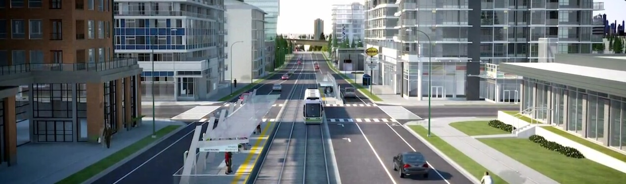 City of Surrey concept showing reduced traffic lanes on 104th Ave