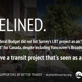 Surrey LRT gets sidelined in federal budget