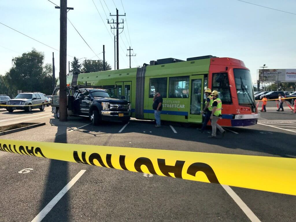 7+ hour shut-down after Portland streetcar hit by truck