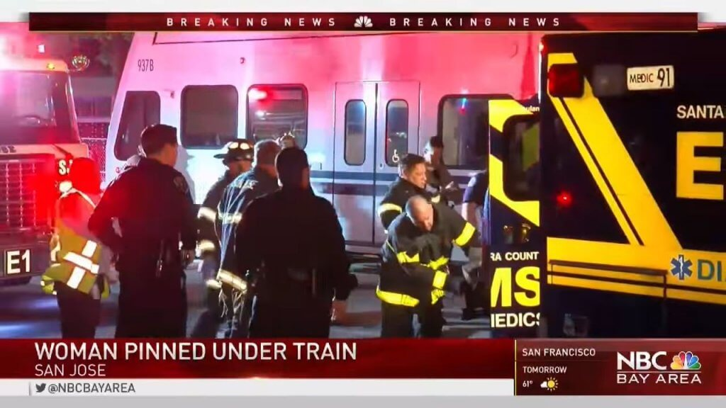 Light rail shut down in San Jose's Japantown after woman pinned under train